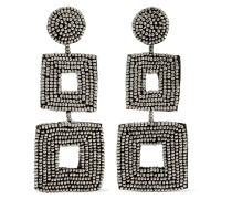 Gold-tone Beaded Clip Earrings Schwarz