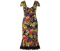 Kleid aus Crêpe aus Einer Seidenmischung mit Floralem Print und Spitzenbesatz