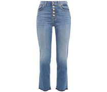 The Straight Cropped Distressed High-rise Straight-leg Jeans