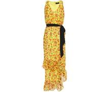 Rosalind Belted Floral-print Silk-blend Jacquard Midi Dress