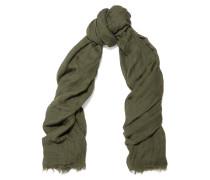 Sandy Modal, Linen And Silk-blend Scarf Armeegrün