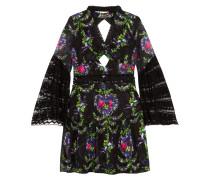 Cutout Lace-trimmed Fil Coupé Dress Schwarz
