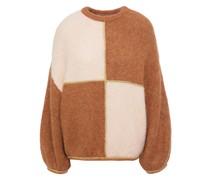 Zweifarbiger Pullover aus Einer Alpakamischung mit Metallic-besatz