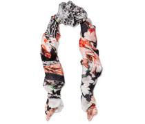 Lace-paneled Printed Silk-chiffon Scarf Mehrfarbig