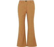 Loren Cropped Stretch-woven Flared Pants Camel
