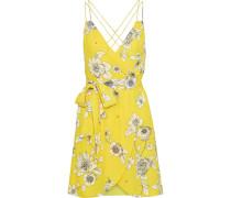 Susana Wrap-effect Floral-print Crepe De Chine Mini Dress