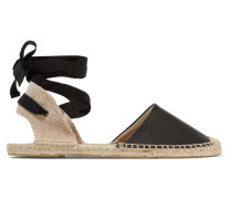Lace-up Leather Espadrilles Schwarz