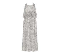 Wind Mael Printed Crinkled Silk-georgette Maxi Dress Weiß