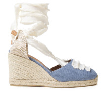 Frayed Lace-up Cotton-canvas Wedge Espadrilles