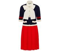 Bow-embellished Pleated Stretch-knit Mini Dress