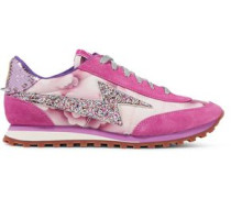 Astor embellished printed canvas, leather and suede sneakers