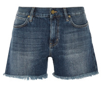 Pheobe Frayed Denim Shorts Mittelblauer Denim