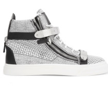 Printed Leather High-top Sneakers Weiß
