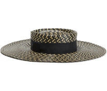 June Grosgrain-trimmed Coated Faux Straw Sunhat