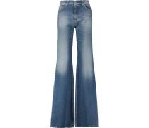 Mid-rise Flared Jeans Mittelblauer Denim