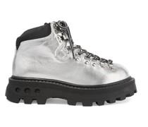 High Tracker Ankle Boots aus Metallic-leder mit Shell-besatz