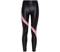 Zweifarbige Cropped Stretch-leggings mit Metallic-effekt