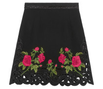 Floral-embroidered Crepe Mini Skirt Schwarz