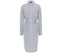 Pleated Printed Cotton-poplin Shirt Dress