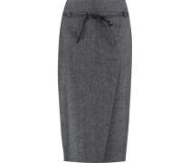 Stretch Wool And Cashmere-blend Midi Skirt Grau