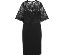 Layered Lace And Ponte Dress Schwarz