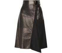 Leather-paneled Wool Skirt Schwarz