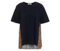 T-shirt aus Baumwoll-jersey mit Crêpe De Chine-einsatz