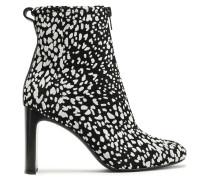 Woman Ellis Zip-detailed Leopard-print Flocked Suede Ankle Boots Black
