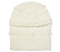 Fringed Cable-knit Wool And Cashmere-blend Beanie Elfenbein