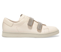 Embellished Leather Sneakers Beige