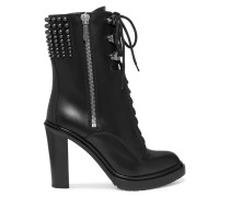 Studded Leather Ankle Boots Schwarz