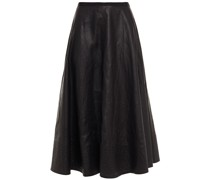 Phoebe Grosgrain-trimmed Coated-linen Midi Skirt