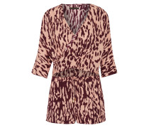 Bali Margot Cutout Wrap-effect Printed Voile Playsuit Burgunder