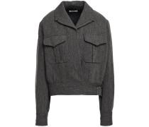 Woman Doyle Buckled Herringbone Wool And Linen-blend Jacket Dark Gray