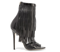 Abby Fringed Leather Sandals Schwarz
