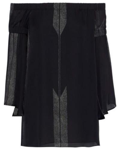 Off-the-shoulder Printed Silk-chiffon Top Black