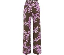 Floral-print Cotton-twill Wide-leg Pants