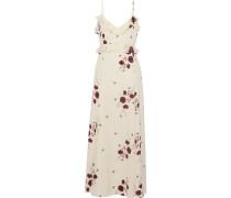 Cassiel Floral-print Swiss-dot Crepe De Chine Maxi Slip Dress