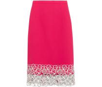 Embroidered Wool-blend Crepe Skirt Bonbonrosa