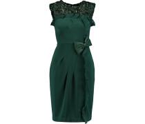 Leather-appliquéd Stretch-ponte Dress Smaragdgrün