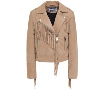 Fringed Suede Biker Jacket
