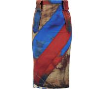 Fall Printed Stretch-cotton Pencil Skirt Blau