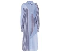 Patchwork-effect Cotton-blend Chambray And Poplin Midi Shirt Dress