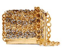 Metallic Floral-appliquéd Crocodile Shoulder Bag Gold