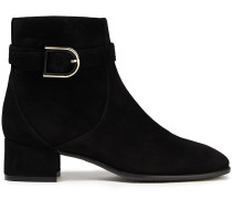 Bel Buckled Suede Ankle Boots