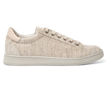 Leather-trimmed Coated-canvas Sneakers Beige