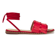 Woman Studded Suede-trimmed Fringed Sandals Red