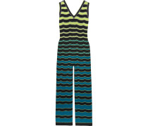 Striped Cotton-blend Lamé Crochet-knit Jumpsuit Mehrfarbig
