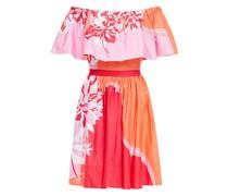 Off-the-shoulder Printed Stretch-cotton Poplin Mini Dress