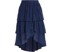 Asymmetric Tiered Silk-gauze Skirt